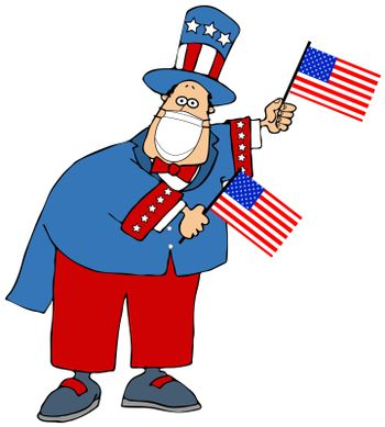 Flag waving Uncle Sam wearing a face mask