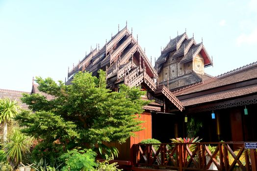 Phayao, Thailand  – 21 December, 2019 : Wat Nantaram is a Tai Yai (Shan-style) community temple in central Chiang Kham and exhibits the classic Tai Yai roof architecture, somewhat extraordinary