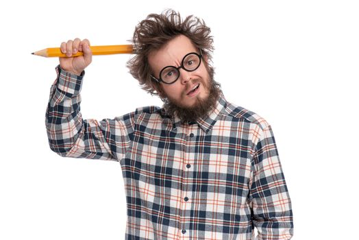 Crazy thoughtful bearded Man in plaid shirt with funny Haircut in eye Glasses holding Big Pencil - ponder and dreaming, isolated on white background.
