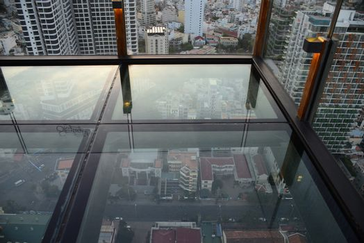 NHA TRANG, VIETNAM – 28 FEBRUARY 2020 : Skylight is the first Rooftop Beach Club in Vietnam Located on Pool Deck on the 43rd floor, Skylight's glass Skywalk