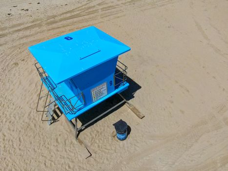 Lifeguard tower on the Huntington Beach during sunny day. Southeast Los Angeles, California. USA,