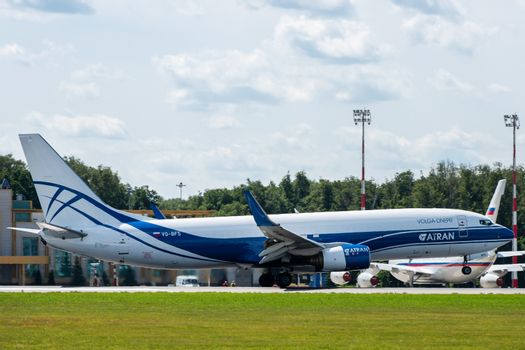 July 2, 2019, Moscow, Russia. Airplane Boeing 737-800F ATRAN - Aviatrans Cargo Airlines at Vnukovo airport in Moscow.