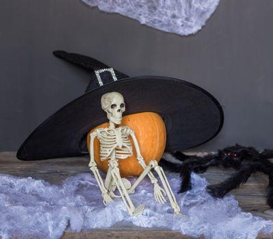 Skeleton With Pumpkin, happy halloween background.