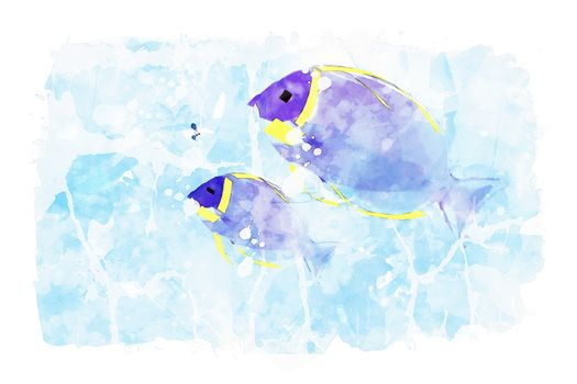 Two sea fish on blue watercolor background, blue tones image, summer watercolor painting