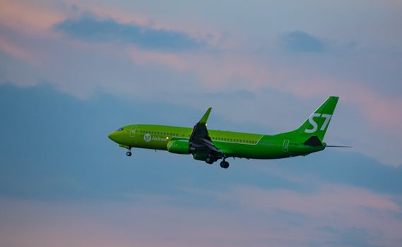 8 JULY 2018 Russia, Moscow. The aircraft Boeing 737-800 S7 Airlines is landing at the Domodedovo airport.
