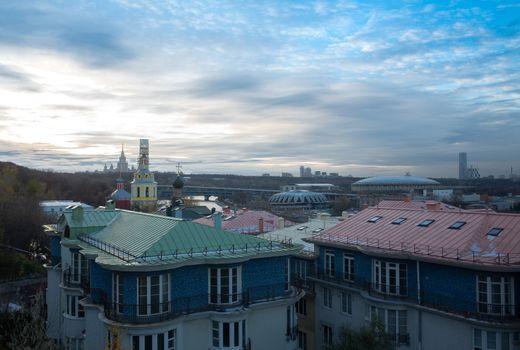 30 October 2018 Moscow, Russia Panorama Of Moscow. View of Lomonosov Moscow state University and Luzhniki stadium.