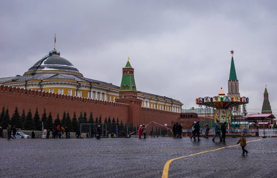 27 November 2018, Moscow, Russia. Christmas fair on red square in Moscow.