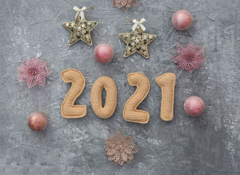 Christmas background with chroched 2021 number with copy space top view.