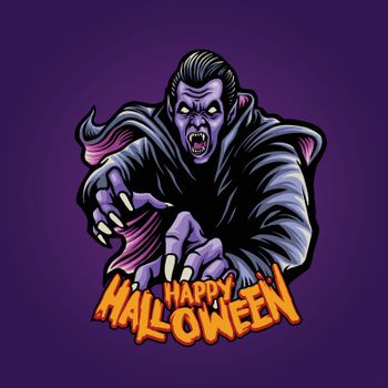 Zombie Dracula witchcraft Happy Halloween Illustrations for clothing apparel merchandise and poster publications