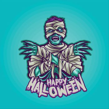 Zombie Mummy, Happy Halloween Illustrations for clothing merchandise apparel and sticker publications your brands