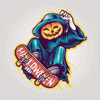 Skeleton Skateboards Halloween Scary Illustrations for clothing line merchandise your brand business
