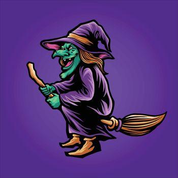 shaman magic Witchcraft Halloween Illustrations fot merchandise apparel business