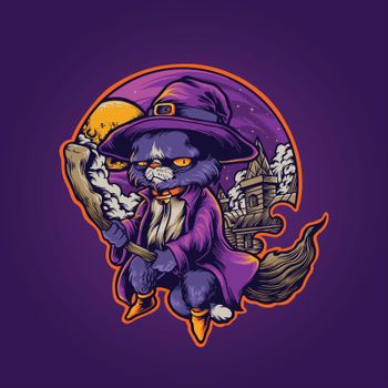 hogwarts Cat Withcraft shaman Illustrations for merchandise and clothing line stickers