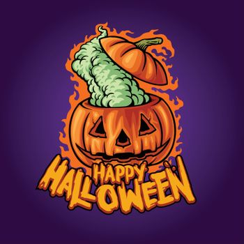 Halloween Head Pumpkin Weed Smoke Marijuana Illustrations for Merchandise Clothing line