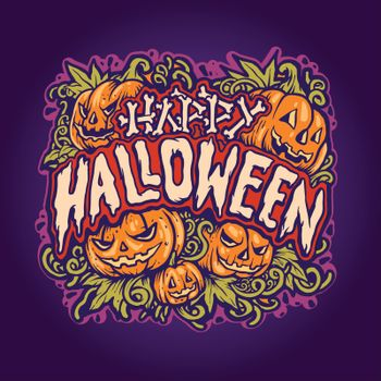 Happy halloween Jack o'lantern Background Illustrations for poster publications and merchandise clothing line