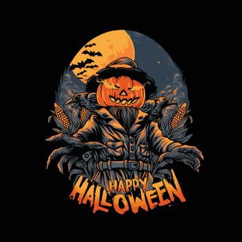 The Scarecrow Happy Halloween Horror Illustrations for clothingline merchandise your brands business