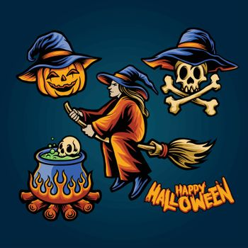 Happy Halloween Head pumpkins Set Element for horror merchandise clothing line and stickers