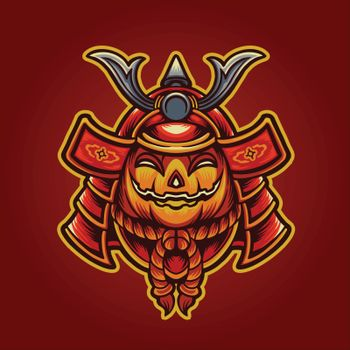 halloween Jack o'lantern japan mask samurai Illustrations for merchandise clothing line and stickers