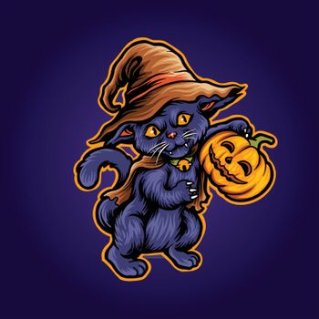 Cat Halloween Scary Pumpkins witch Zombie Illustrations for merchandise and clothing apparel stickers