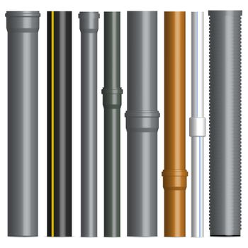 Set of various plastic pipes with connectors, vector illustration.