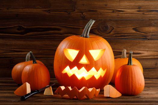 Carving of Halloween pumpkin
