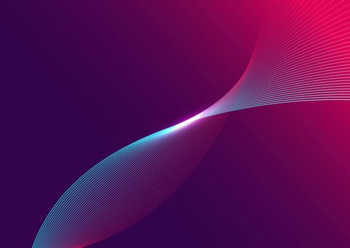 Abstract blue curved line with light on purple and pink gradient background, Communication technology futuristic concept. Vector illustration