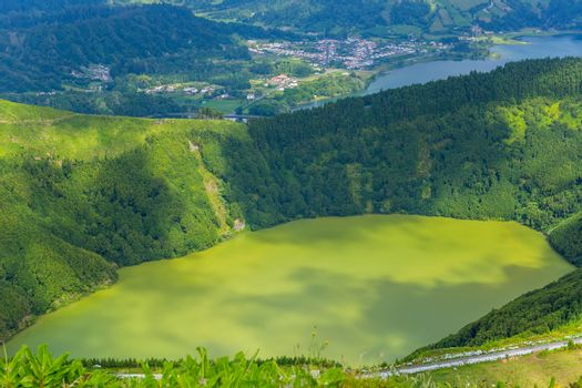Lake of Sete Cidades, a volcanic crater lake on Sao Miguel island, Azores, Portugal. View from Boca do Inferno