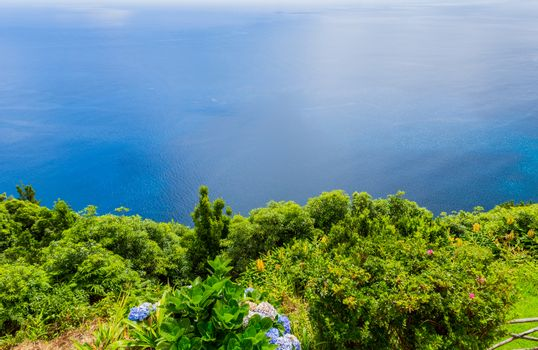 Northeast of the island of Sao Miguel in the Azores. Viewpoint of Ponta do Sossego. Amazingly point of interest in a major holiday destination of Portugal.