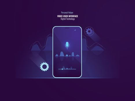 Awesome voice user interface command concept, mobile phone with sound wave, equalizer, helper application, speech recognition, flat vector
