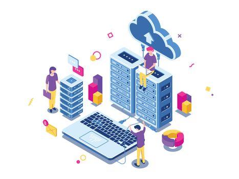 Big data center, server room rack, engineering process, teamwork, computer technology, cloud storage, command work, isometric people vector