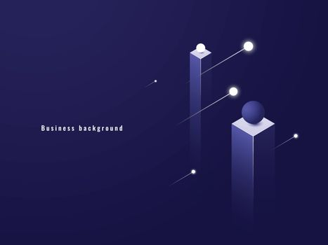 Business minimalism concept, data flow, futuristic illustration, columns isometric