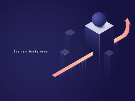 Business successful concept, career, arrow up isometric vector illustration, tunnel with