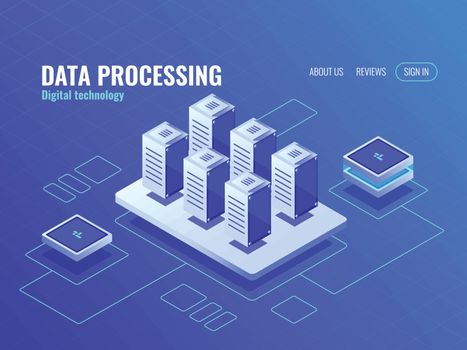 Concept of big data storage and backup isometric icon, server room database and data center, protected data transfer