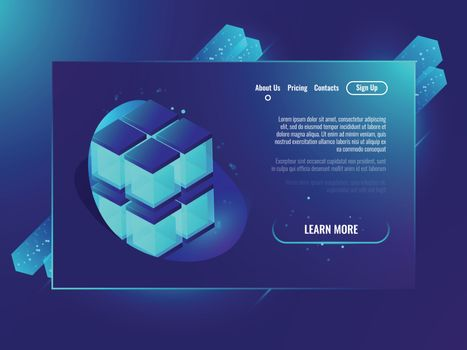 Data handling, analysis data and Investment, business success, data center isometric neon ultraviolet vector