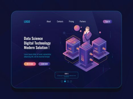 Data science, big data processing, server room, database and data center concpet, isometric icon, data analysis and statistic report dark neon