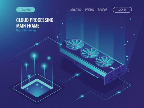 Data processing, computing power, mainframe service, data flow, internet data share ultraviolet isometric vector illustration