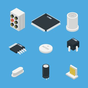 Electronics parts set icon in isometric style vector illustration