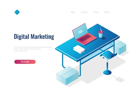 Digital marketing isometric concept employment, office workplace, workspace, table with open laptop, top
