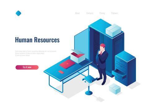 Human resources HR isometric icon concept, employment, office inside interior, table with chair, people thinking