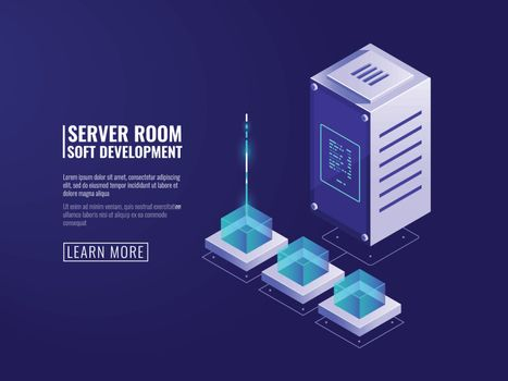 Internet connection, data encryption, secure data storage, data flow, file upload, server and database icon