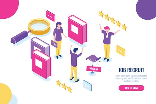 Isometric hire and recruit worker concept, vacant place, HR human resources, personnel assessment, magnifying glass, empty chair, color flat