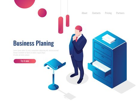 Organization of the working process isometric, work with documents, paperwork, the man thinks brainstorming, office interior people