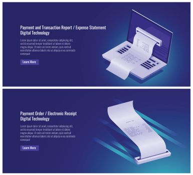 Payment and money transaction report, expense statement, pay order, electronic receipt, digital technology, laptop vector