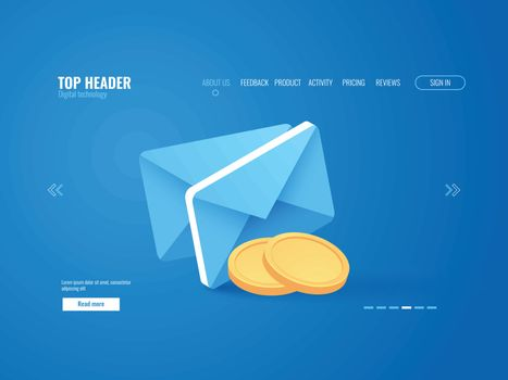 Payment notification concept, envelop with gold coin money, email isometric