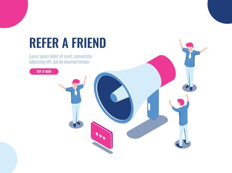 Refer a friend isometric icon, people team in promotion, advertising, teamwork and collective work concept, cartoon flat vector illustration