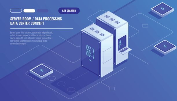 Server room, data center, Concept of cloud storage, data transfer, data transfer scheme isometric vector technology