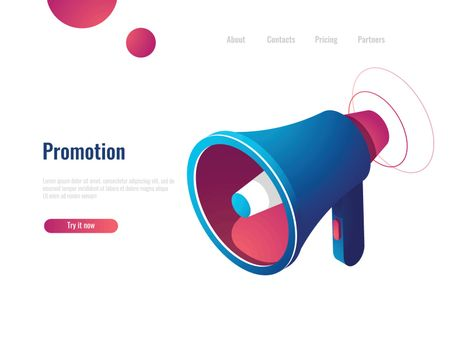 Speaker, promotion and advertising, notification and news isometric icon