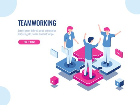 Teamwork success isometric icon, puzzle business solution, working together, association of people, startup, flat vector