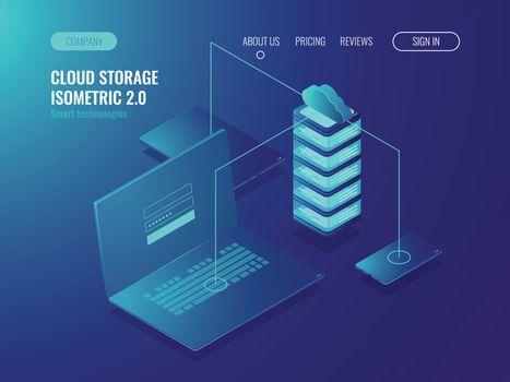 Web hosting solution, cloud server data storage, data transfer and data transmission technology isomeric vector illustration
