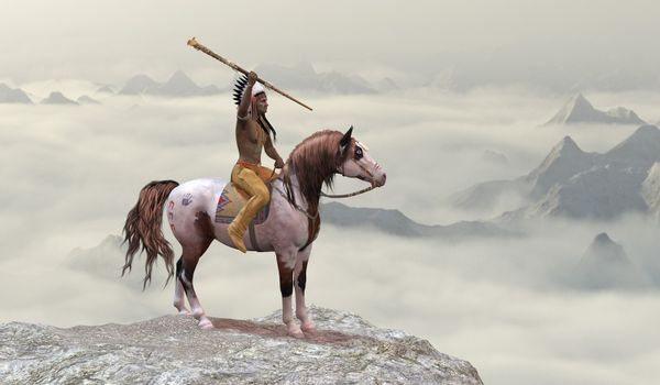 An American Indian in warbonnet rides his war pony to the top of a cliff in the western mountain range.